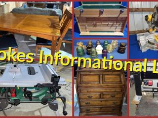 Stokes Lower Barn: Tools, Wood Furniture, Insulators, More