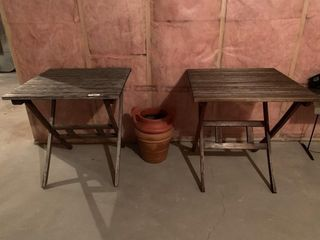 Pair of Outdoor Tables and Planters