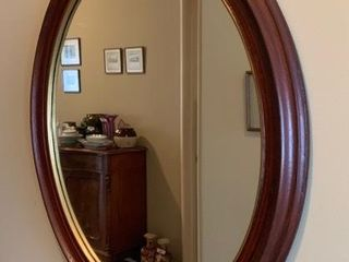 Oval Wooden Framed Wall Mirror