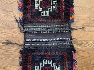 Vintage Afghan Wool Saddle Bag
