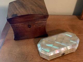 Mother Of Pearl and Antique Wood Boxes