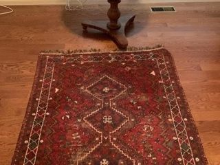 Antique Persian Rug Table and lamp