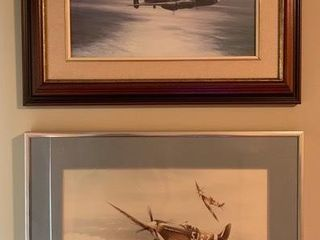 Pair of Framed War Plane Prints