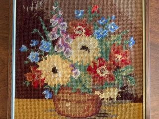 Needlepoint Floral in Frame