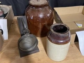 Small crock missing the handle  votive holder and