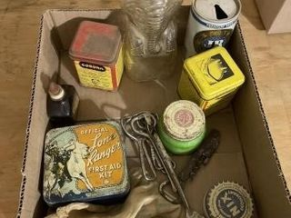 Vintage tins  CanOpenerIJs  raffle but ends table