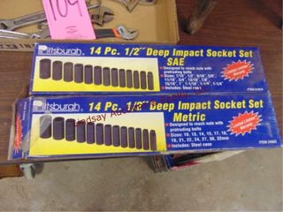 Set of New Pittsburg 14pc 1 2  deep impact socket
