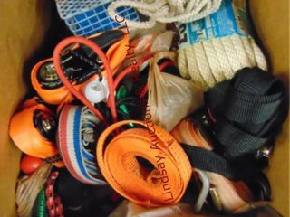 Box of ratchet straps  rope  bungees