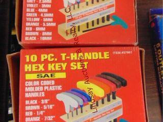 2  10pc T handle hex key sets  SAE   Metric