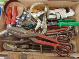1 Flat of misc tools  tin snips  vise grips   othr