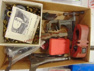 Flat of clamp on vises  gromet set   other misc