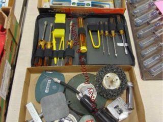 3 flats of misc tools  tape  screw drivers  levels