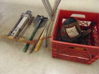 Milk crate w  bottle jack  folding shovel    other
