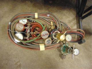 Oxy Ace hose  refrigeration gauges  2 other gauges