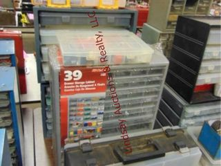 6 sorter bins WITH CONTENTS   some empty  see pics