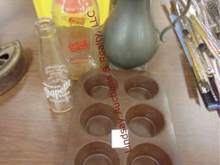Milk bottle  Grapette pop bottle  coffee pot