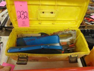 Yellow tool box w  socket set  wrenches  jigsaw