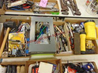 4 flats misc tools  hammer  tin snips