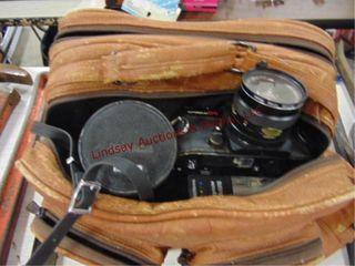 Konica auto reflex T4 camera w  3 lenses   flash