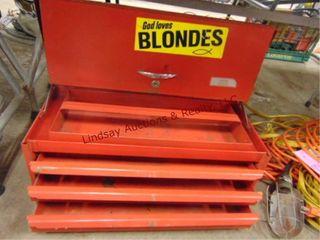 3 drawer tool box w  lift lid  22 5 w x 10 d