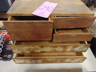 4 drawer wood parts box WITH CONTENTS
