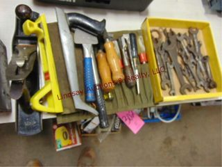 Group  wood chisels  vintage combo wrenches