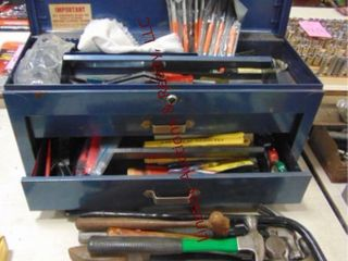 2 drawer metal toolbox w  meters  pliers  wrenches
