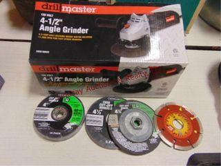 NIB Drill Master 4 5  angle grinder w  extra whls