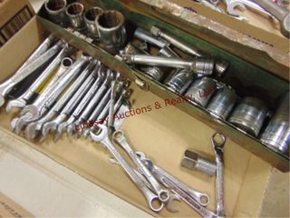 Flat of SK tools 1 2 drive sockets   combo wrenchs