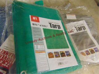 2 NEW tarps  1 NEW moving blanket  1 used tarp