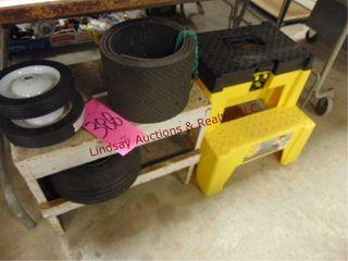 Wood bench  plastic tool box stepstool combo