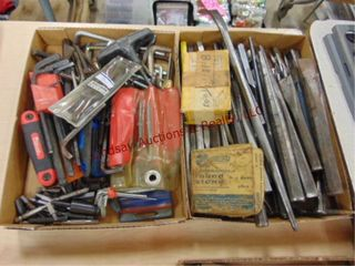 2 flats  allen wrenches  punches  chisels