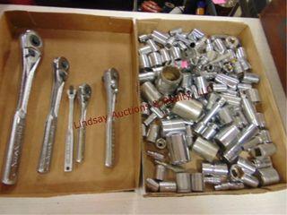 2 flats  5 ratchets   sockets various sizes