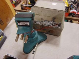 Table top 2 3 4  vise  box of lead sinkers