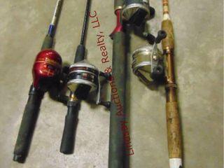 4 fish rods   reels