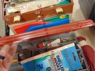 2 tackle boxes WITH contents  elec filet knife