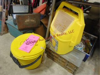 Group  fish lures  minnow buckets  first aid   etc