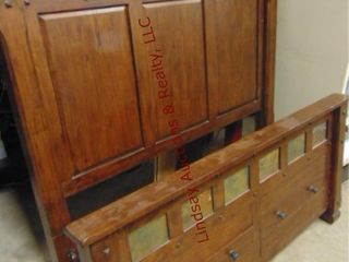 Queen wood bed frame w  2 storage drawers