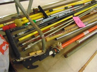 Group of misc tools  limb lopper  bar clamp  level