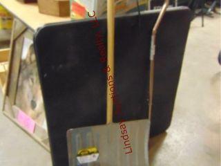 Card table  snow shovel  cane  trashcan