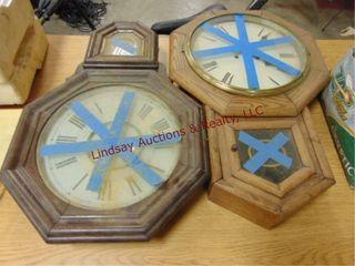 2 wood wall clocks  need repair