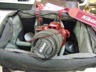Nikon D3400 digitial camera w  5 lenses