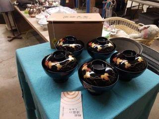 VINTAGE JAPANESE RICE BOWl SET W BOX