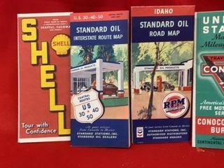 4 ROAD MAPS  1930IJS   1940IJSc  SHEll  CONOCO