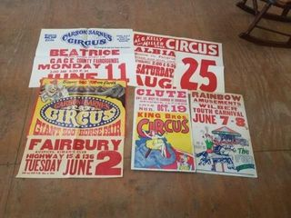 5 ASSORTED OlD CIRCUS POSTERS