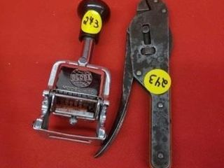 GlOBE MODEl 10 STAMPER AND A VINTAGE WRENCH