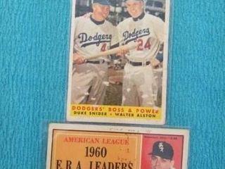 2 RARE 1960 DODGERS YANKEES BASEBAll CARDS