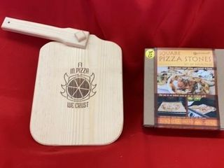 PIZZA STONES  NEW AND WOODEN PIZZA SERVER