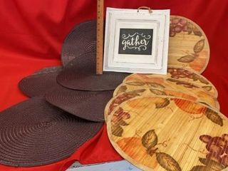 GATHER SIGN AND 2 SETS OF PlACE MATS  5 EACH