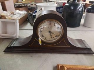 CAMEl BACK MANTlE ClOCK  RUNS GREAT  WITH KEY
